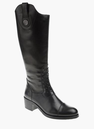 George Hogg Kalın Topuklu Deri Çizme Siyah